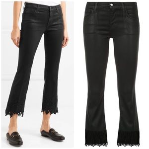 NWT J Brand Selena Coated Cropped Lace Jean